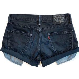 LEVI'S 511 Distressed Black Raw Hem Denim Shorts